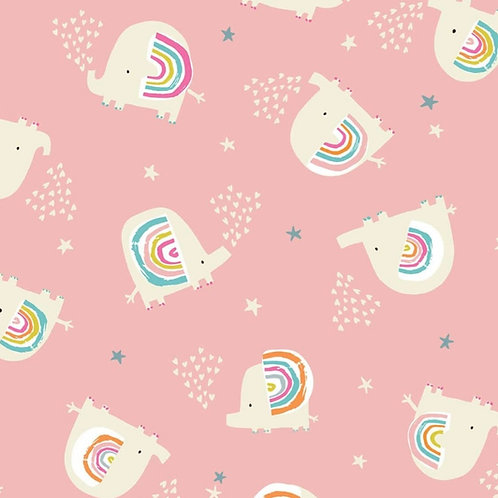 Dashwood Studio Rainbow Friends Elephants on Pink (£3.25fq/£13.00pm)