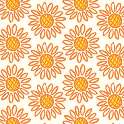 Figo Fabrics Retro Flowers  White - Squeeze by Dana Willard (£3.75fq / £15.00pm)