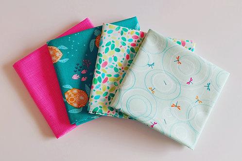 4 Piece Fat Quarter Bundle - Green & Pink