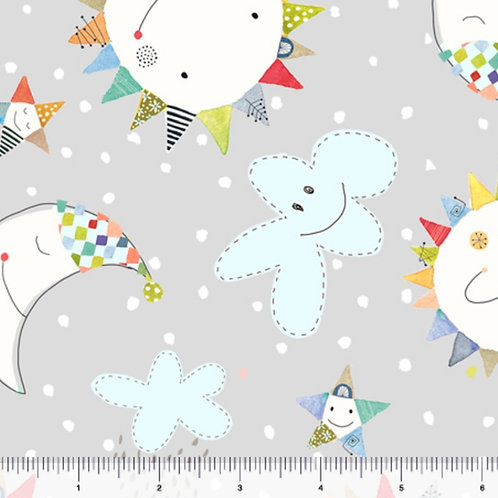 Quilting Treasures Lil' Sunshine Sun & Moon Toss in Grey by Turnowsky