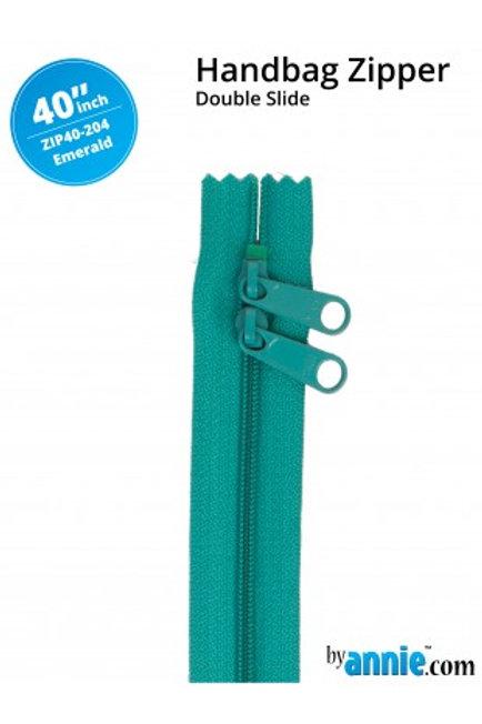 "40"" Double Slide HandBag Zipper in Emerald By Annie"