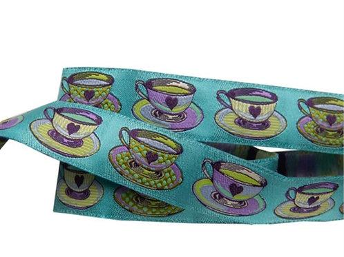 Big Tea Time Blue 7/8in Ribbon by Tula Pink (Price Per 1/2 Yard)