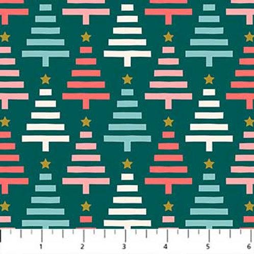 Figo Fabrics Polar Magic - Christmas Trees Green Metallic