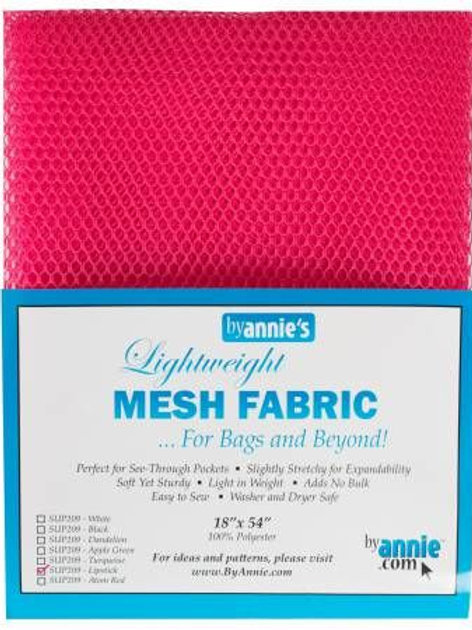 By Annie Mesh Fabric in Lipstick 1/2 yard (18in x 54in) Package