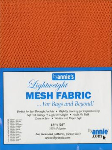 By Annie Mesh Fabric in Pumpkin 1/2 Yard (18in x 54in) Package