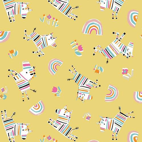 Dashwood Studio Rainbow Friends Zebras on Yellow (£3.25fq/£13.00pm)