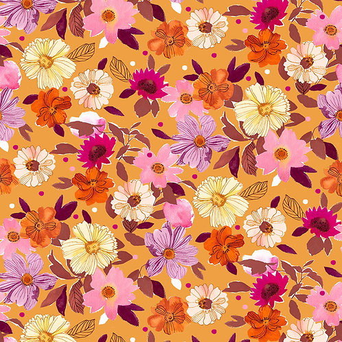 *Pre-Order* Dashwood Studio Flora Flowers in Mustard (sold per 1/2m)