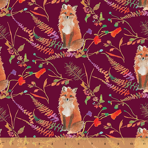 Fox Wood - Foxes in Burgundy by Windham Fabrics