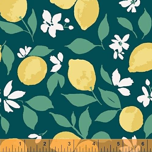 Windham Fabrics Pink Lemonade - Lemons on Teal