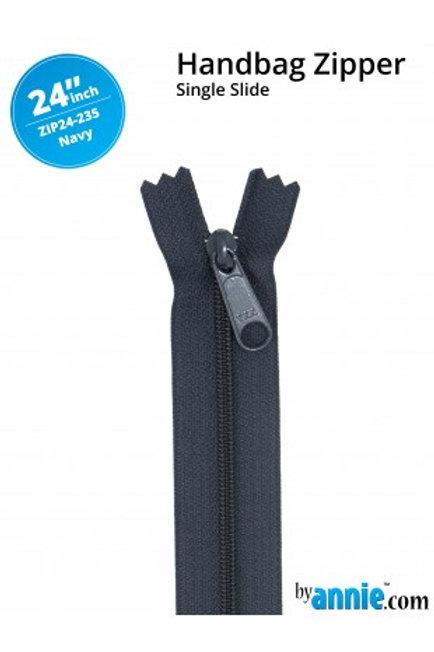 """24"""" HandBag Zipper in Navy By Annie"""