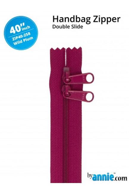 """40"""" Double Slide HandBag Zipper in Wild Plum By Annie"""