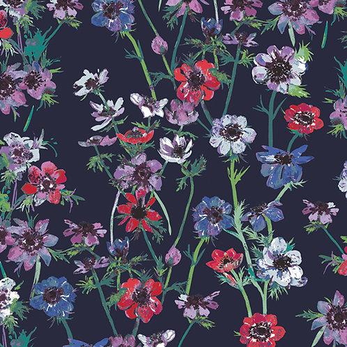 Art Gallery Fabrics Aquarelle - Anenome Study Midnight