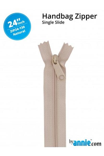 """24"""" HandBag Zipper in Natural By Annie"""
