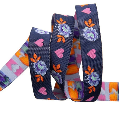 *PRE-ORDER* Painted Roses 5/8in Ribbon in Navy by Tula Pink (Price Per Yard)