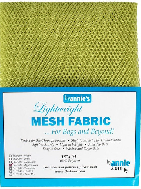 By Annie Mesh Fabric in Apple Green 1/2 Yard (18in x 54in) Package