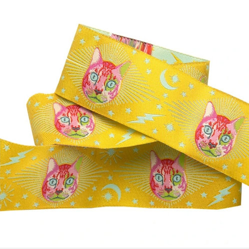 *PRE-ORDER* Cheshire Cat Yellow 1 & 1/2in Ribbon by Tula Pink (Price by Yard)