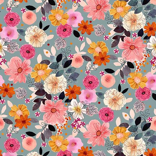 *Pre-Order* Dashwood Studio Flora Flowers in Pale Blue (sold per 1/2m)