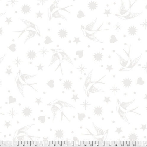 Tula Pink Linework - Fairy Flakes in White