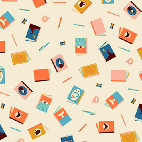 Figo Fabrics Books in Off-White - Simple Pleasures (£3.75fq / £15.00pm)