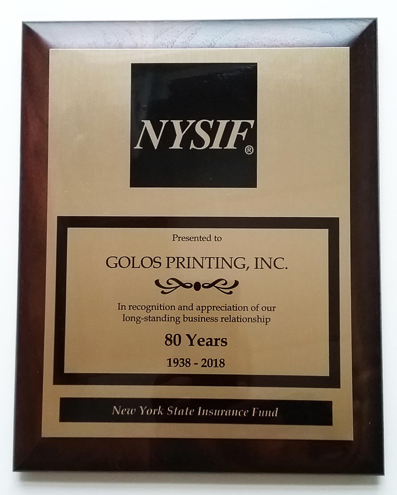 NYSIF Plaque