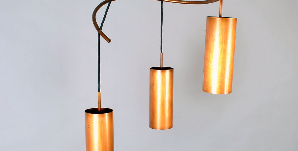 Midcentury Modern Copper triple cylinder pendant 1960s