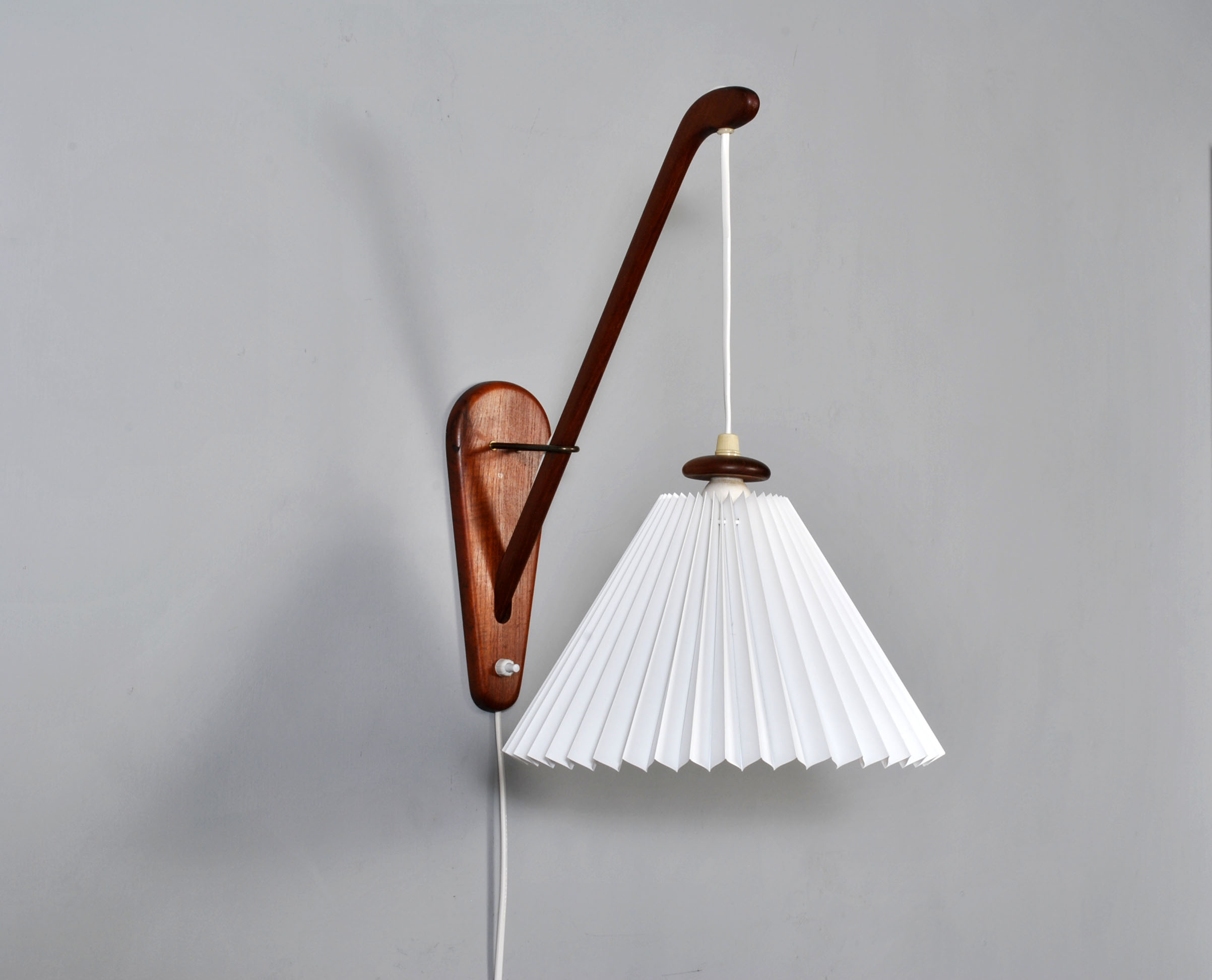 Midcentury Danish teak wall hanging lamp
