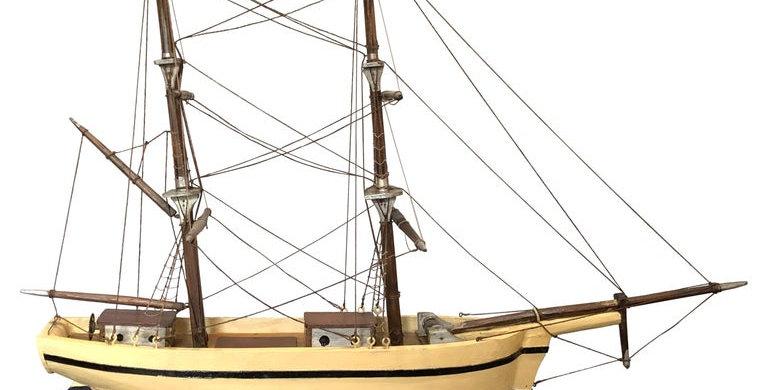 Scandinavian folk art scratch-built model boat, 1950s