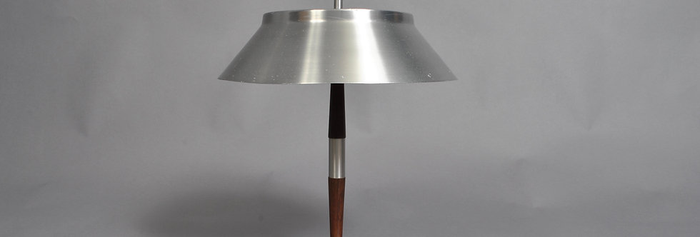 Midcentury Aluminium and rosewood desk lamp in the manner of Jo Hammerborg