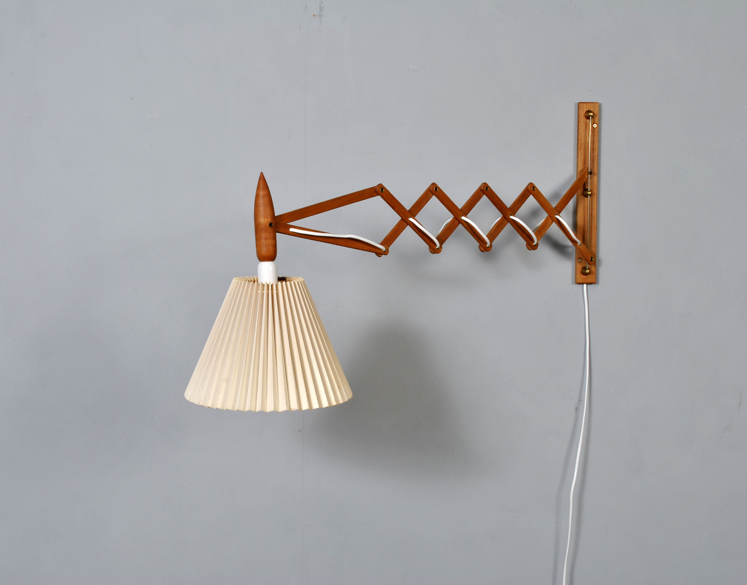 Midcentury Danish scissor wall lamp in o