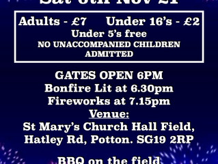 November 6th is the night this Year, for St Mary's Bonfire and Firework Party!