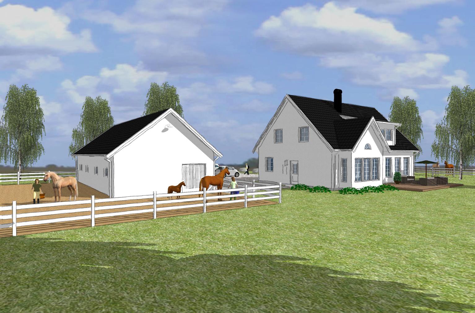 Villa Dacke vitt med svart tak 02