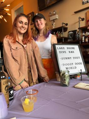 Julianne & Katie at Your Happy Place Liquor's doggie adoption event, art show & tasting
