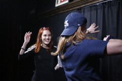 J & K busting a move BTS at Hollyy