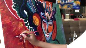 Breanna Ruiz's live painting at Lake Shore Dive's Memorial Day art pop-up (Brü)