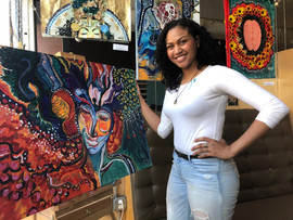 Breanna Ruiz's finished piece at Lake Shore Dive's Memorial Day art pop-up