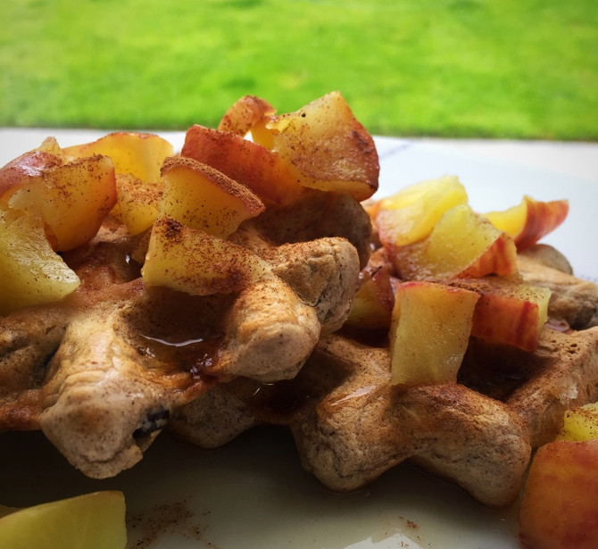 Sunday Autumnal Apple & Cinnamon Waffles