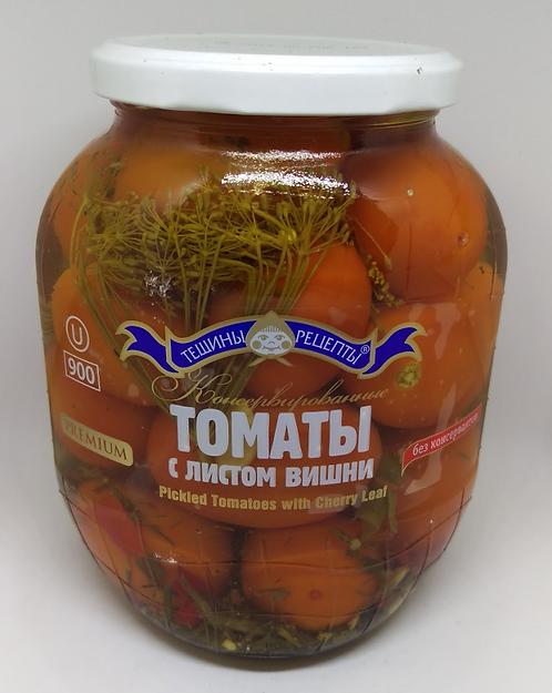 Pickled Tomatoes w/Cherry Leaf