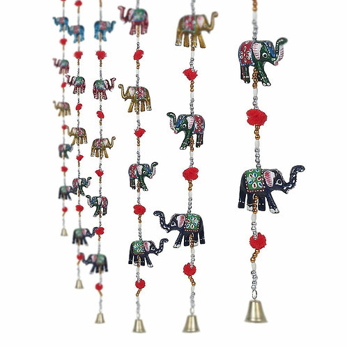 Hand Crafted Colorful Window Hanging Elephant String With Bell Good Luck Chime