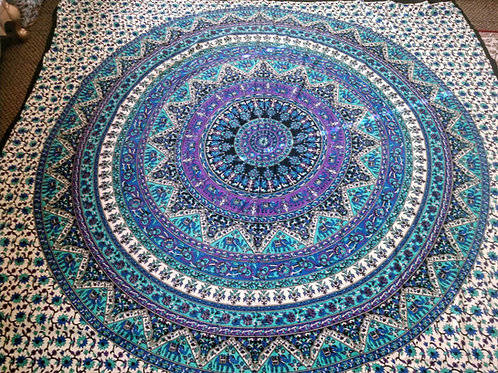 Blue Purple Green Elephant Mandala Tapestry, Queen Size