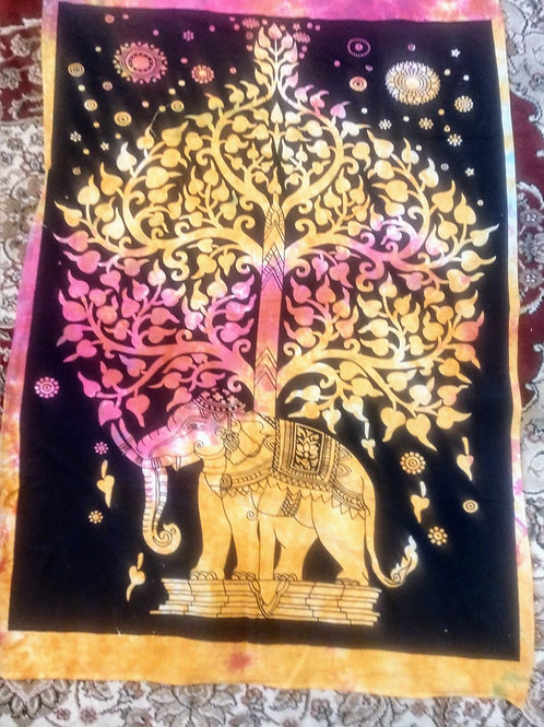 Elephant Tree of Life Tapestry, Poster Size