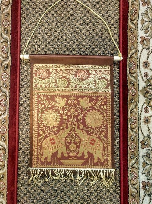 Brown Silk Elephant Single Pocket Letter/Book Holder Home Decor -