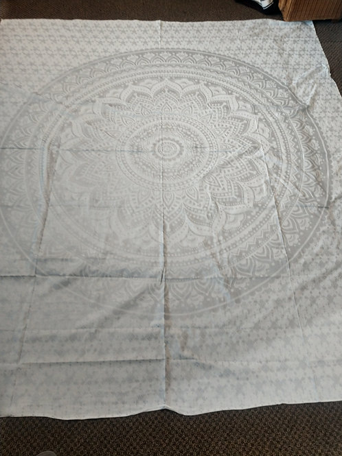 Silver Mandala Tapestry, Queen Size