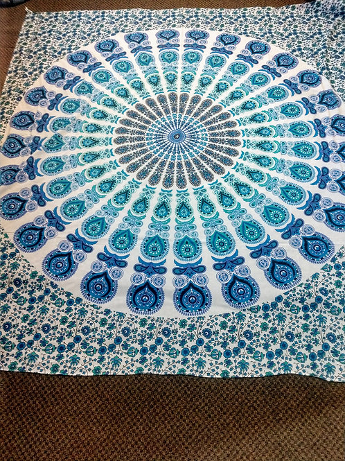 Blue Green Mandala Tapestry, Queen Size