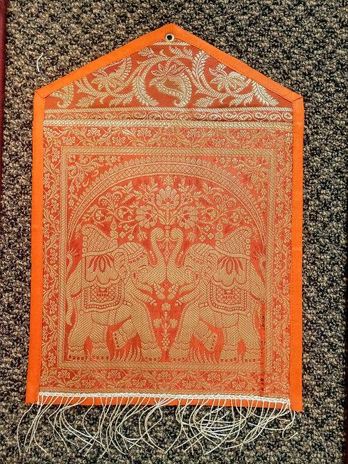 Orange Silk Elephant Single Pocket Letter/Book Holder Home DecO