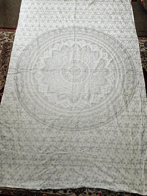 Silver Mandala Tapestry, Twin Size