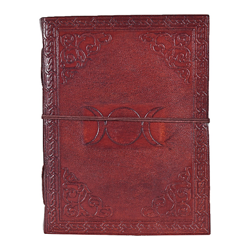 Handmade Leather Journal Triple Moon Design With Cotton Paper