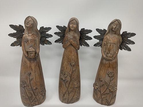 Poly Resin Angel Figurine, 3 Asst.