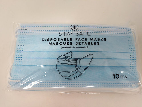 Disposable Face Masks, Pack of 10