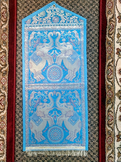 Lt Blue Silk Elephant Two Pocket Letter/Book Holder Home Decor