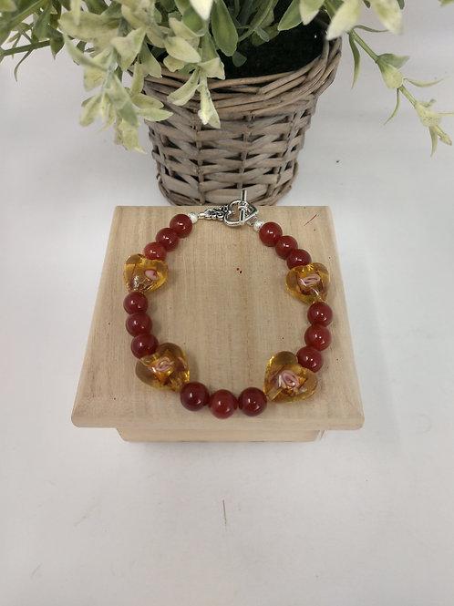 Carnelian & Heart Shaped Lamp Work Bead Bracelet